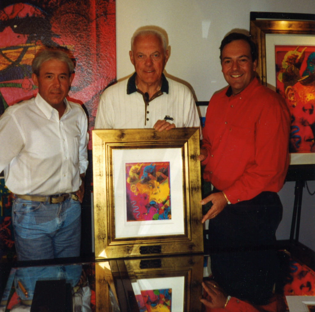 Joe, Bud Grant and artist Tony Whelihan